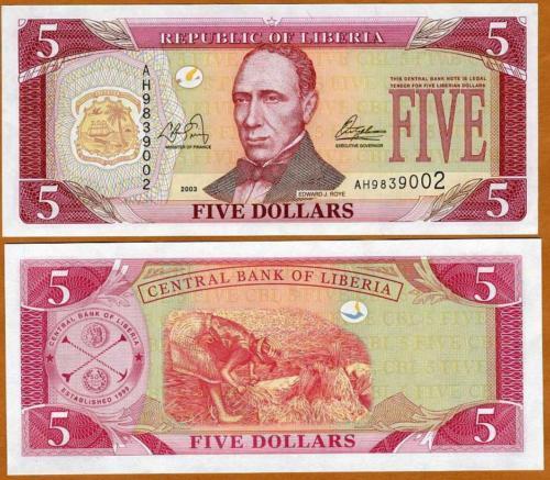 LIBERIA 20 DOLLARS 2003 P 28 UNC